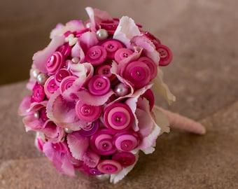 Pink flower and button bridal bouquet 'becky'
