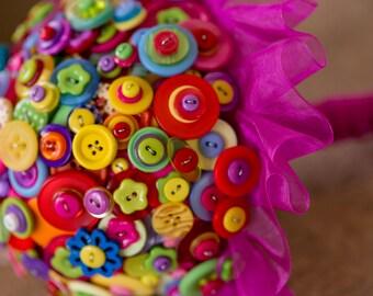 button bouquet ,'summer brights'