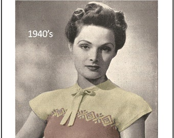 1940's Pretty Cap Sleeve Sweater - PDF Knitting Pattern - Instant Download