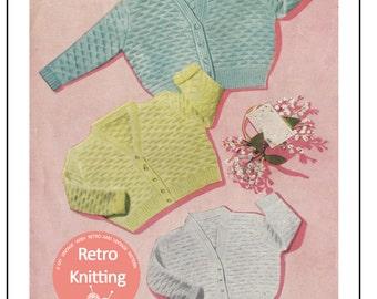 Baby Cardigan in 3 Sizes Knitting Pattern  - PDF Knitting Pattern - Instant Download