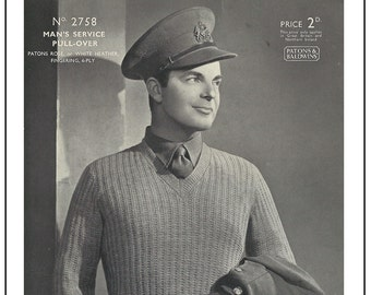 1930s Man's Service Pull-Over Vintage Knitting Pattern - PDF Instant Download - PDF Knitting Pattern