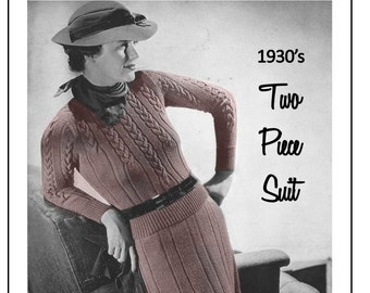 1930's Cable Suit Knitting Pattern - Instant Download - PDF Instant Download - PDF Knitting Pattern
