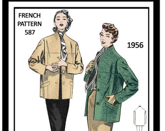 1950s Jacket and Skirt  French Sewing Pattern - PDF Sewing Pattern - Instant Download