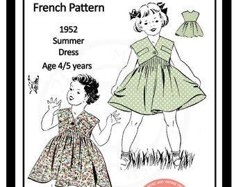 Little Girls Summer Dress 1950s Vintage French Sewing Pattern - PDF Sewing Pattern - Instant Download