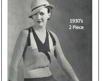 1930's Two Piece Knitting Pattern - Instant Download - PDF Instant Download - PDF Knitting Pattern