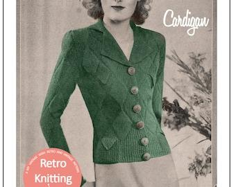1930s Winter Cardigan Vintage Knitting Pattern -  PDF Instant Download