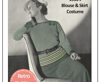 1930's  2 Piece Suit  Knitting Pattern - Instant Download - PDF Instant Download - PDF Knitting Pattern