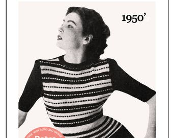 1950s Striped Sweater Knitting Pattern  - PDF Knitting Pattern - PDF Instant Download