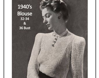 1940s  Long Sleeve Blouse Knitting/Crochet  Pattern - PDF Instant Download