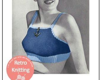 1940s Sun-Crop Top Vintage Knitting Pattern - PDF Instant Download