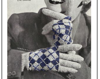 1940s Argyll  Gloves Vintage Knitting Pattern - PDF Knitting Pattern - PDF Instant Download