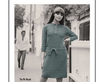1960's Mod Shift Dress Knitting Pattern- PDF Instant Download