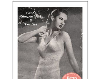1930's Vest and Panties Knitting Pattern - PDF Instant Download Pattern