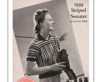 1930's Striped Sweater Knitting Pattern - Instant Download - PDF Knitting Pattern