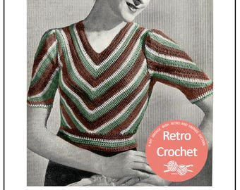 1940s Crochet Pattern - Chevron Sweater  - PDF Crochet pattern - PDF Instant Download