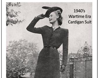 1940s Cardigan Suit Vintage Knitting Pattern - PDF  Instant Download