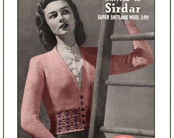 1940s Ladies Fair Isle Cardigan Vintage Knitting Pattern - PDF Instant Download
