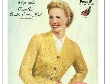1950s Lady's Cardigan - Vintage Knitting Pattern- PDF Instant Download