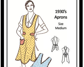 1930s Apron Sewing Pattern - PDF Sewing Pattern - Instant Download