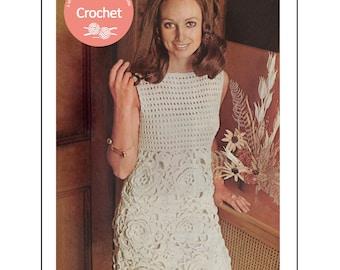 1970s Flower Motif Crochet Dress Pattern -  PDF Instant Download