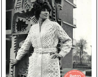 1960's Lady's Aran Coat Knitting Pattern – PDF Knitting Pattern- PDF Instant Download