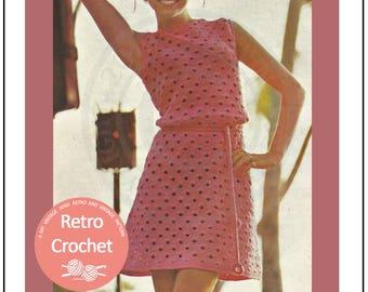 1960s Crochet Dress Pattern - PDF Crochet Pattern - PDF Instant Download