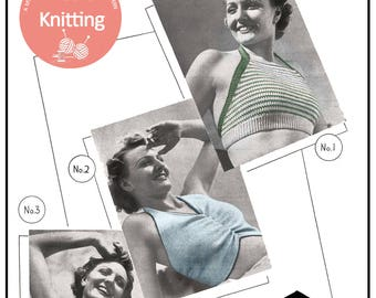 Sun Tops 1940's Vintage Knitting Pattern - PDF Instant Download