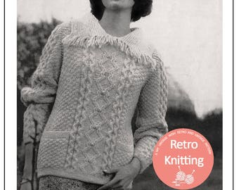 Aran Fringed Sweater Knitting Pattern  - PDF Knitting Pattern - PDF Instant Download