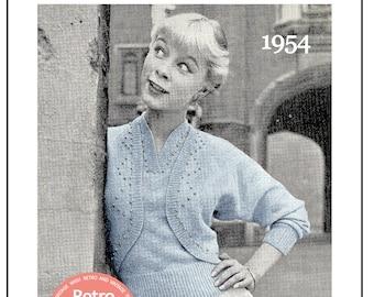 1950s Beaded Bolero Twinset Knitting Pattern - PDF Instant Download