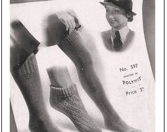 1940's Wartime Women's Service Stockings and Child's Socks Knitting Pattern - PDF Instant Download