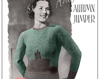 1930's Autumn Sweater Pattern - Instant Download - PDF knitting pattern - 1930s knitting pattern