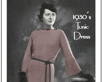1930's Tunic Dress Knitting Pattern - Instant Download - PDF Instant Download - PDF Knitting Pattern