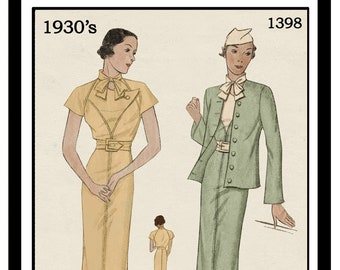 1930's Cap Sleeve Dress and Jacket PDF Sewing Pattern Bust 36 Simplicity 1398