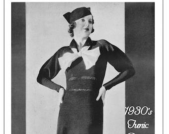 1930's Tunic Dress & Hat Knitting Pattern - Instant Download - PDF Instant Download - PDF Knitting Pattern