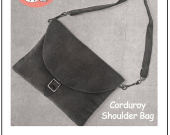 Corduroy Shoulder Bag Retro Sewing Pattern - PDF Bag Pattern - Instant Download