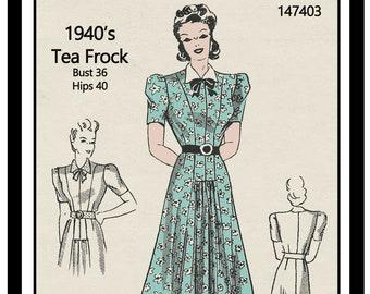 1940's WW2 Tea Dress Ready Printed  Pattern