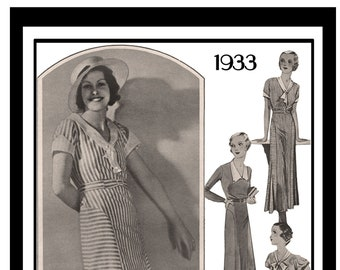 1930's  Everyday V-Neck Tea Frock PDF Print at Home Sewing Pattern