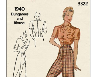 1940's Slacks, Dungarees and Blouse PDF Sewing Pattern Bust 32 - Waist 26