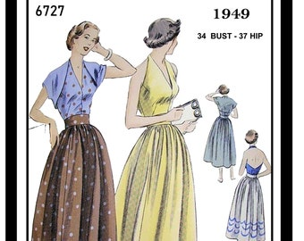 1940s Halter Top, Skirt and Bolero Vintage Sewing Pattern Bust 34