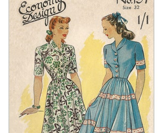 1940's Roll Collar Button Front Day Dress PDF Sewing Pattern Bust 32