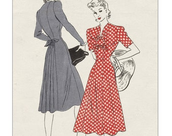 1940's Princess dress with Front Ties PDF Sewing Pattern Bust 32