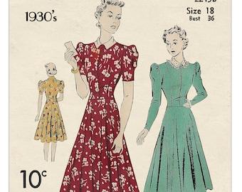 1930's Parisian Style Tea Dress PDF Sewing Pattern Instant Download