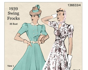1930s Swing Frock Ready Printed Sewing Pattern