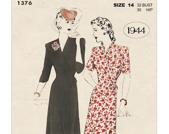 1940's Wartime Wrap Bodice Tea dress Pattern Bust 32