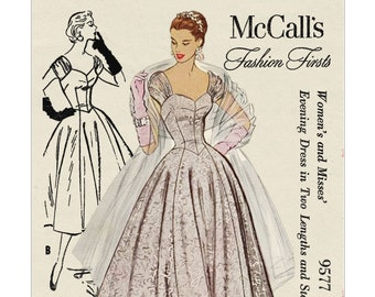1950's Ball Gown in Two Lengths PDF Sewing Pattern Bust 36