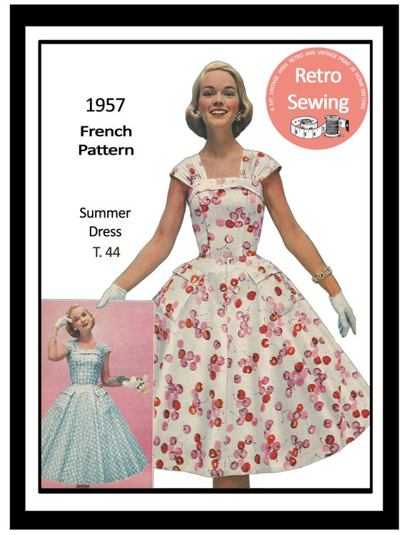1950s Summer Dress Pattern - Rockabilly - Pin Up - Paper Sewing ...