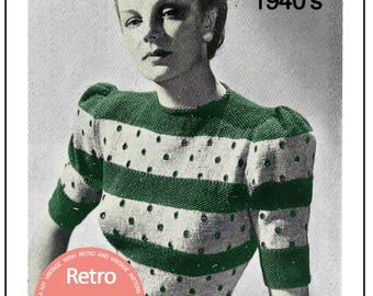 Lady's Striped Blouse 1940's Vintage Knitting Pattern - PDF Knitting Pattern - PDF Instant Download