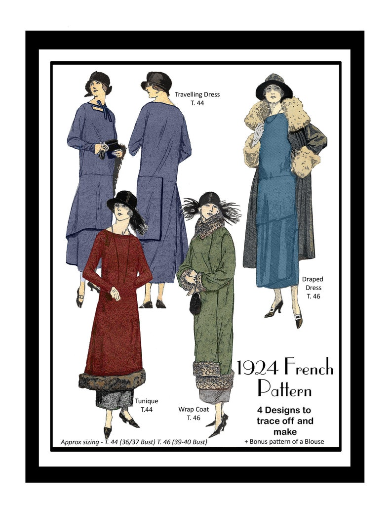 1920s Patterns – Vintage, Reproduction Sewing Patterns 1920s Dresses and Coat Vintage French Sewing Pattern Ready Printed Version $14.10 AT vintagedancer.com