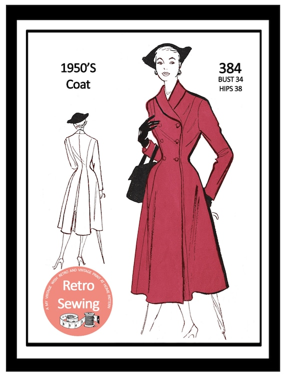1950s Sewing Patterns | Swing and Wiggle Dresses, Skirts 1950s Princess Double Breasted Coat Sewing Pattern - Rockabilly - Pin Up - PDF Sewing Pattern - Instant Download $13.58 AT vintagedancer.com