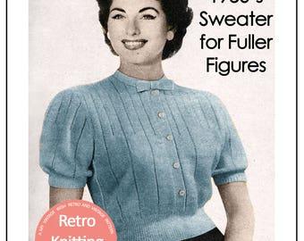 1950's Flattering Sweater Blouse PDF Knitting Pattern